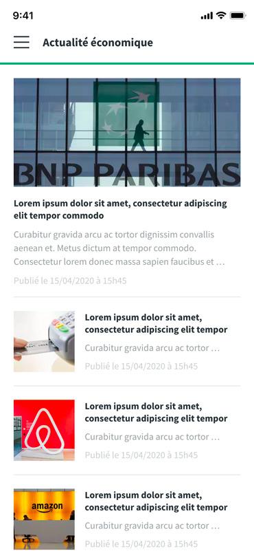 Aperçu des actualités de l'app mobile