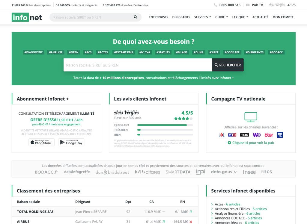 Aperçu de la page d'accueil du site Infonet.fr